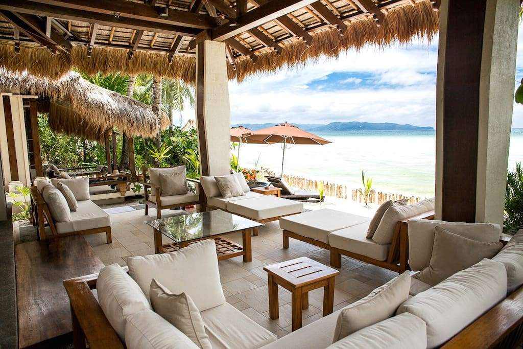 Outdoor living area outside the house for resting and family gathering while enjoying the sea view