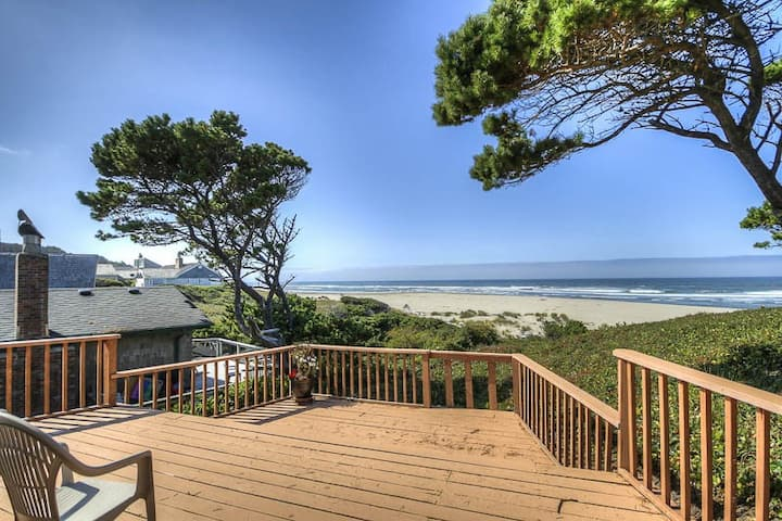 Private, Wooded Oceanfront Home With Ocean Views from Great Room and Porch!
