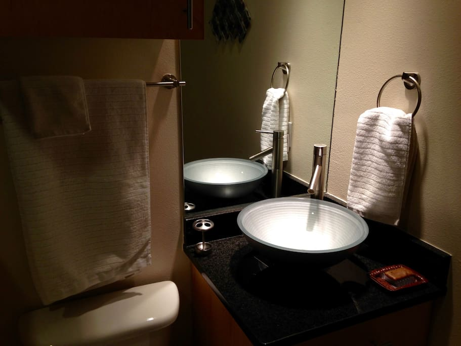 Detail of your bathroom sink: all water's filtered!