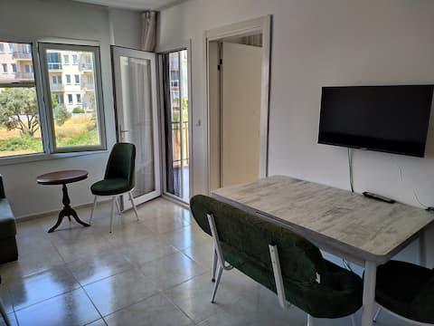 1+1 furnished in Davutlar, with community pool.
