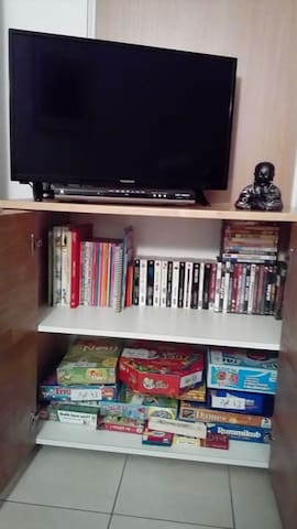 télé, lecteur DVD/divx, livres, jeux, DVD disponibles
