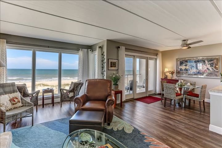 Oceans of Amelia #203:  Completely renovated in 2018 and beautiful! Oceanfront balcony steps to beach