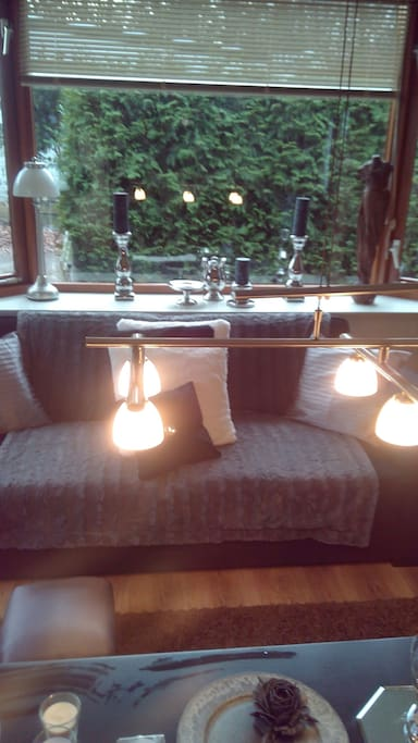 Two sofas...dining table ..seats 6