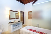 Soak in our luxury master bedroom's bath tub and relax