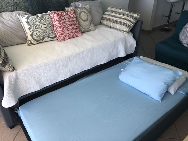 Daybed with trundle is super comfy! There is also a sofa bed to accommodate another sleeper!