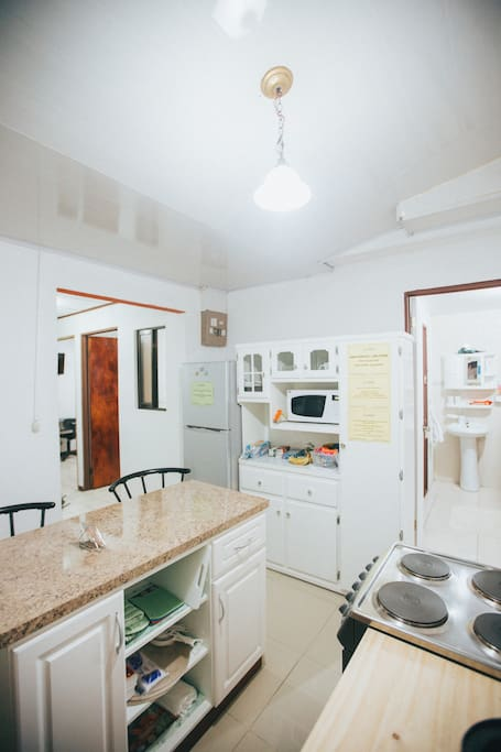 Fully equipped kitchen (coffee maker, blender, stove with oven, microwave, refrigerator, dishes, glasses, cutlery and other utensils)