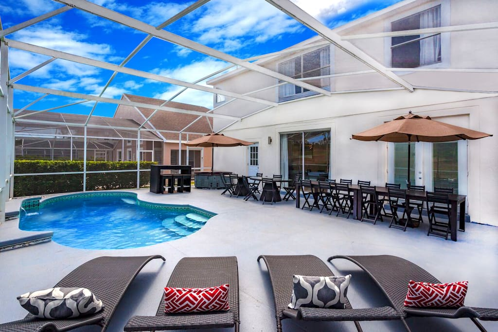 Patio on Pool area with BBQ grill and  outdoor dining for 28