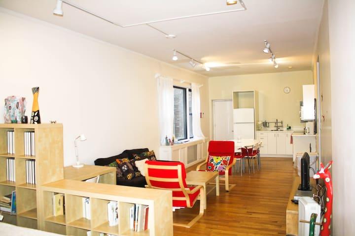 Huge living room/dining room/kitchen area