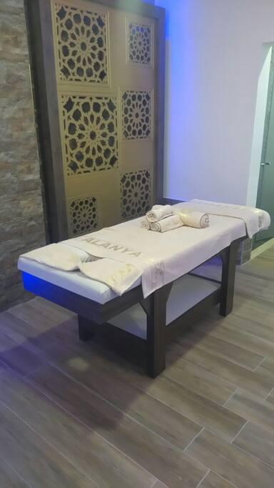 perfect massage bed in hammam area