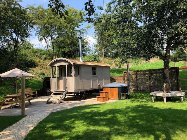Shepherd's Hut and Woodfired Hot tub