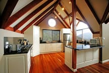 Kitchen with views and coffee machine