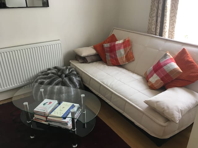 Sofa bed; TV, DVD player, bluetooth speaker. Books, DVDs, local travel guides and playing cards available for loan.