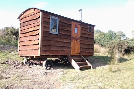 LUXURY SHEPHERDS HUT ON FARM with amazing views - Ceredigion