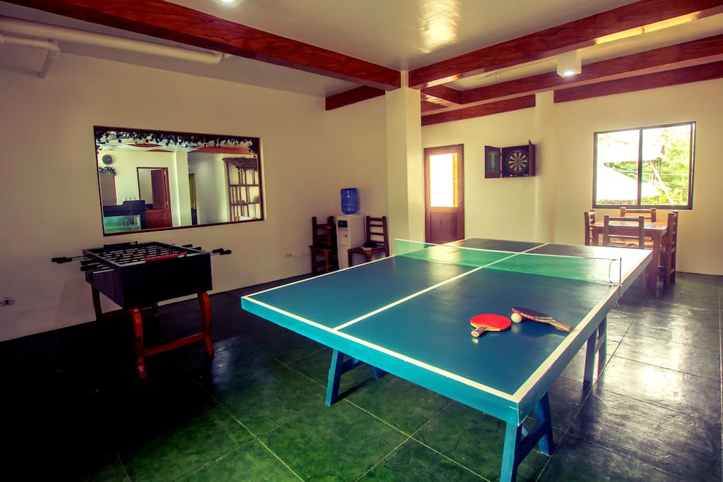 Games room with pingpong, darts, foosball and Wii machine