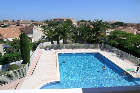 Appart T2 + terrasse + Parking et piscine privée - Valras-Plage - 公寓