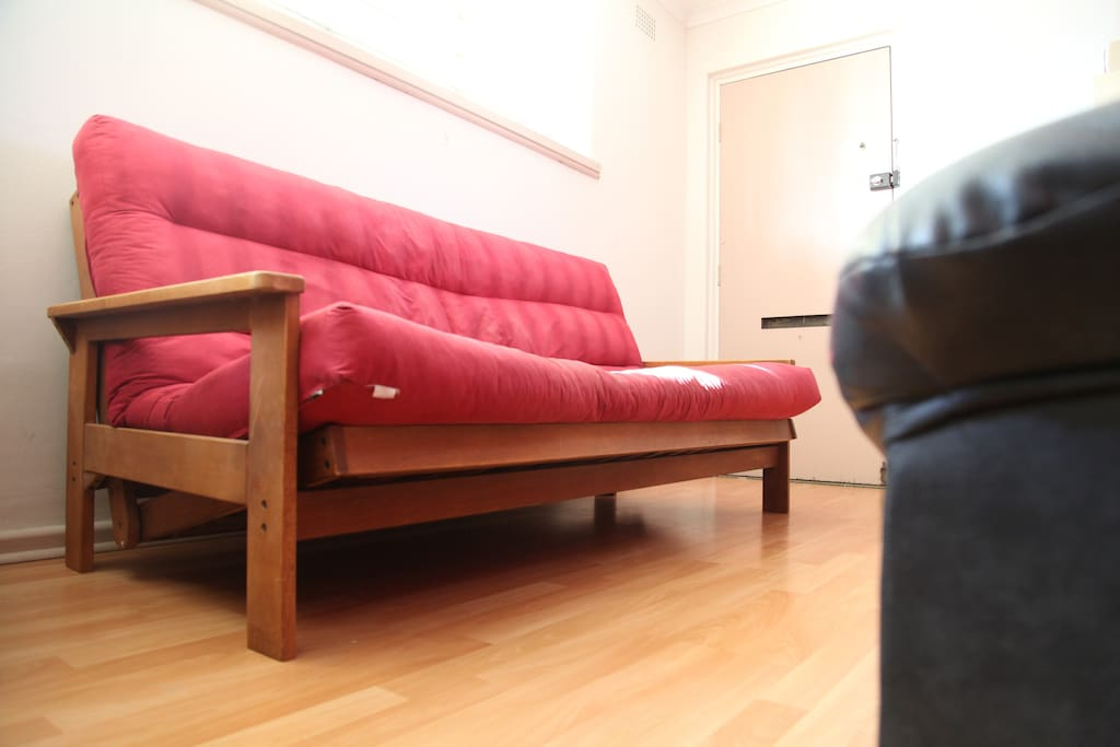 Shared living room with futon/sofa, dining table, TV, internet access.