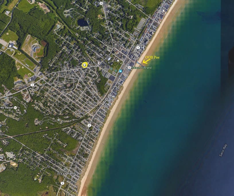 Yellow dot is the house in relation to the ocean