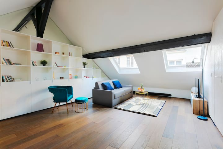 BEAUTIFUL MANSARD DUPLEX IN LE MARAIS–REPUBLIQUE!