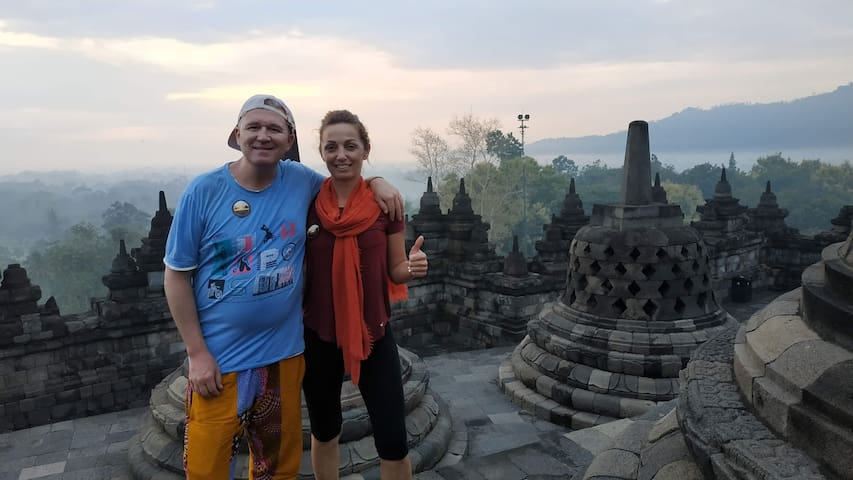 Enjoying Borobudur sunrise