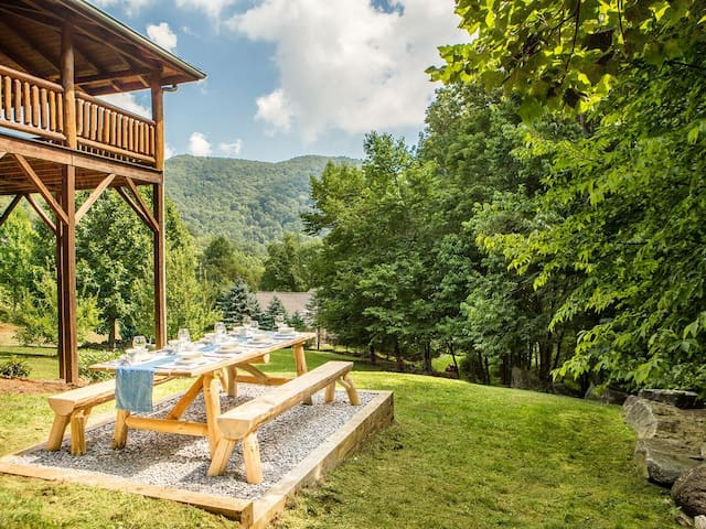 Have a family picnic while enjoying the view of the mountains and listening to the creek.