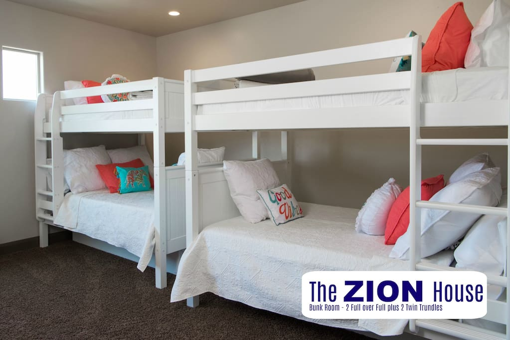 Bunk Room - 2 full over full plus 2 twin trundles.  Space for 10 kids (or 4 to 6 adults - because who wants to squish in a bunk bed?)