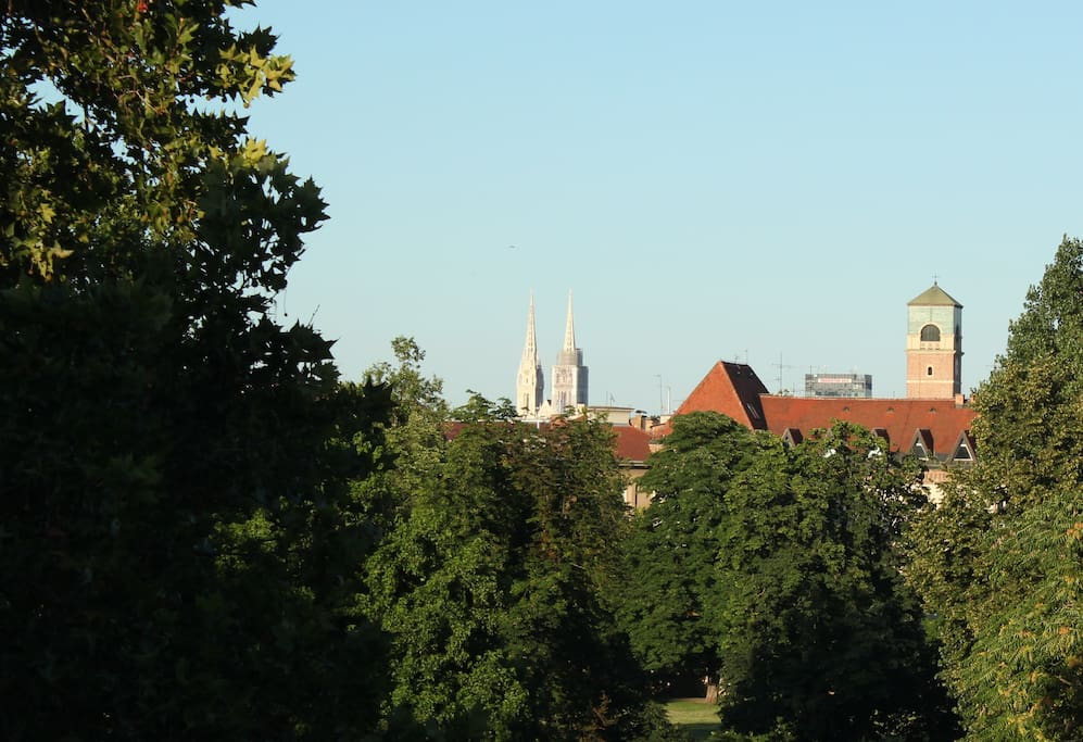 Wiew to a Rudolfs army baracs, St Basil Church tower and Zagreb Cathedral towers in the back