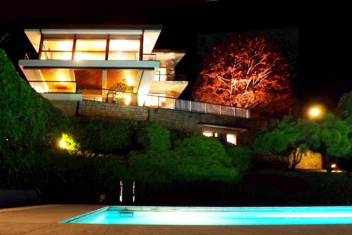 Night view from swimming pool