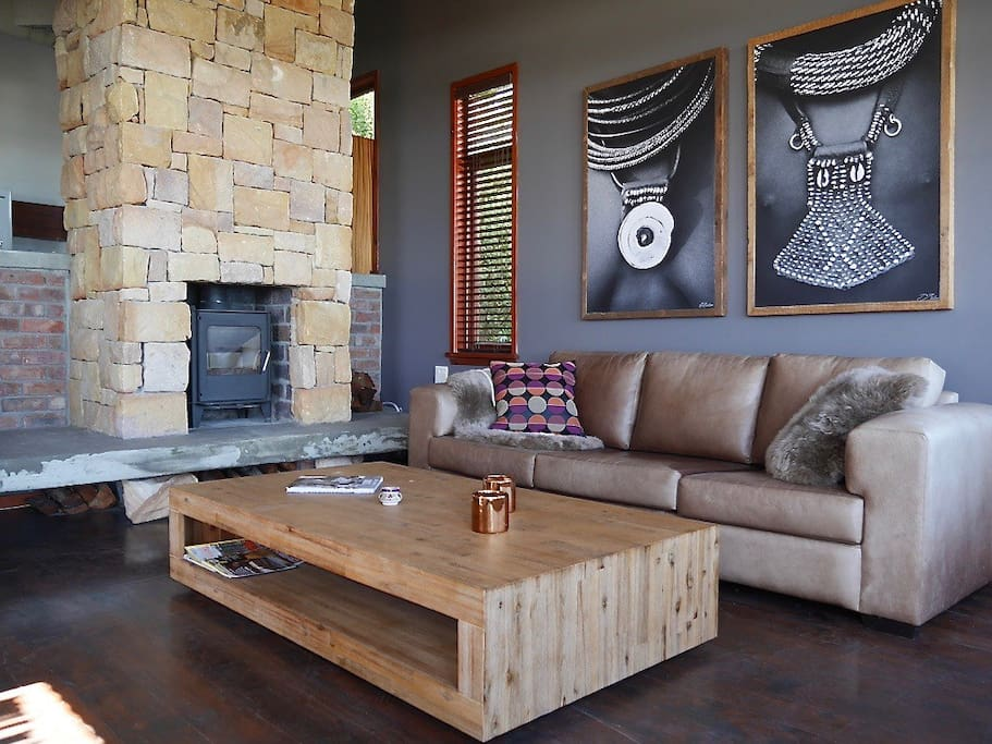 Living room with cozy fireplace