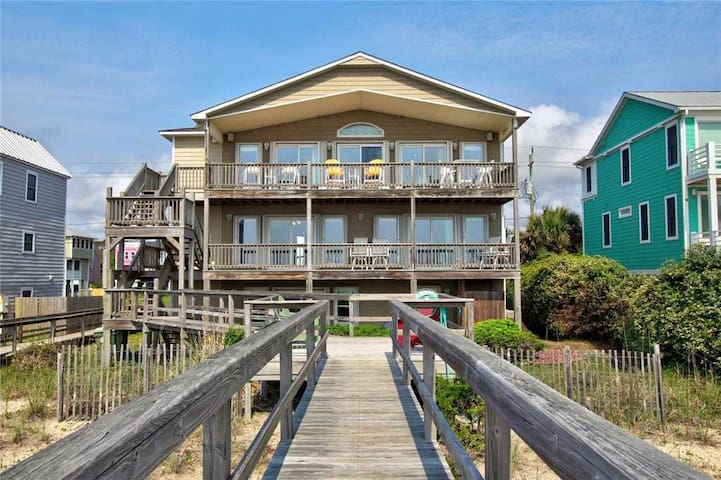 Brigadoon:  5 Bedroom Oceanfront home with Oceanic view, a Spacious Deck, Convenient Elevator, and Private Beach Walkway.