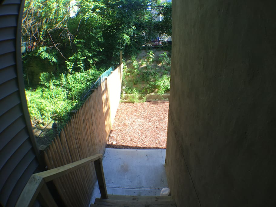 The exit from the kitchen into the garden.