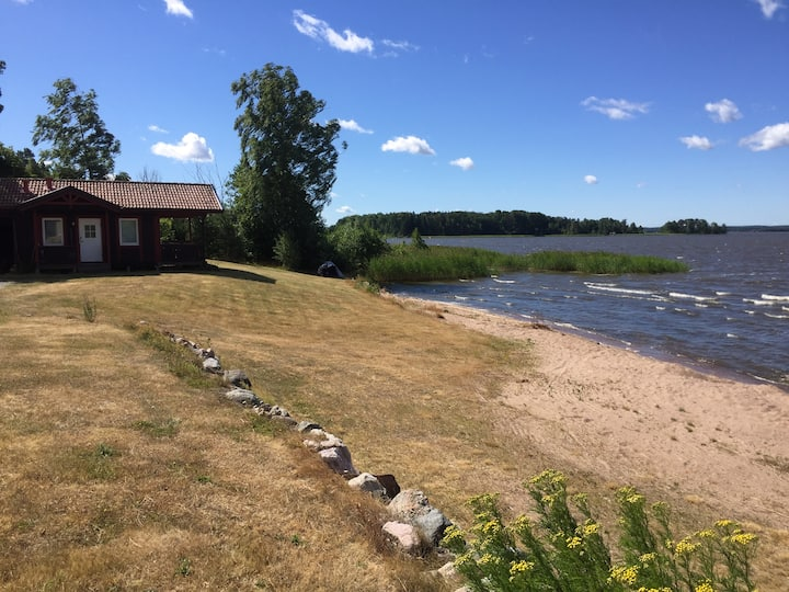 Cottage with private beach in Kvicksund.