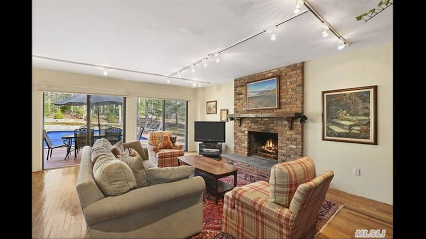 Living room with satellite TV and fire place