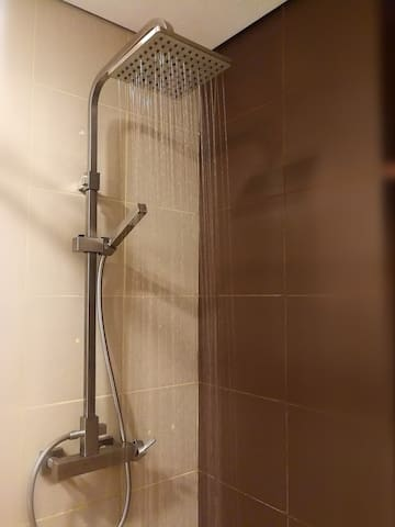 Strong water pressure with rain shower option for your pleasure.   Equipped with multi-point water heater.