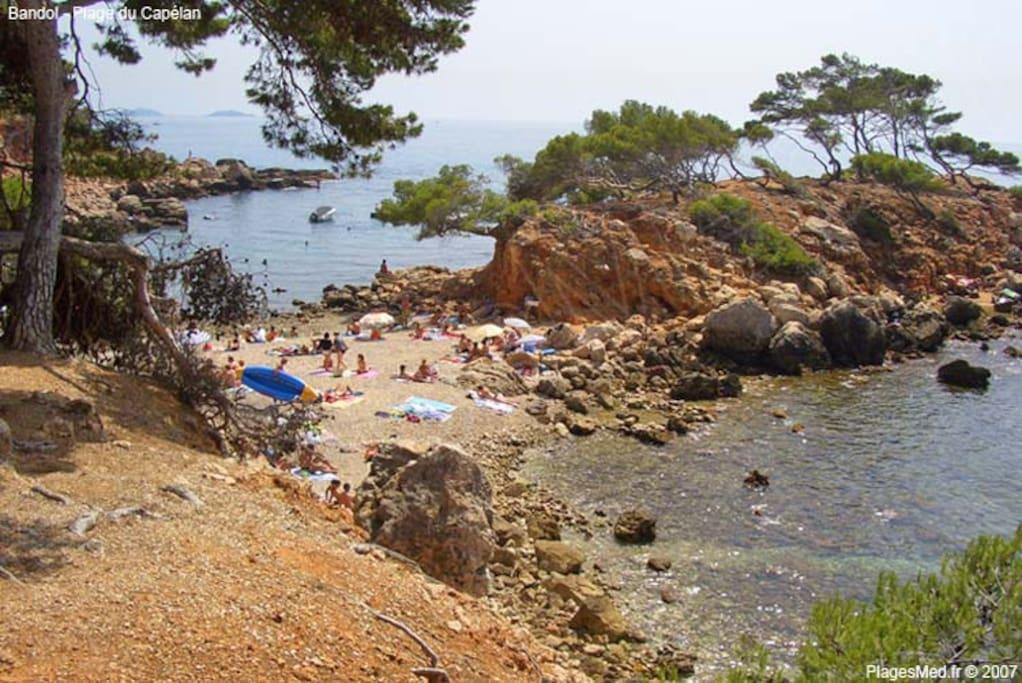La petite plage de la presqu'île du Capelan... 800 mètres... Renecros n'est pas loin...