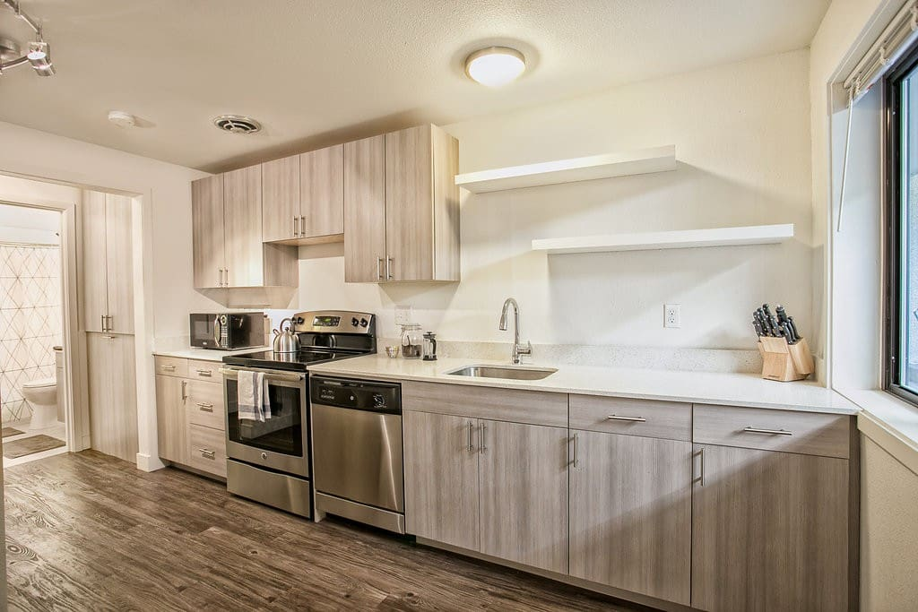 Full kitchen for home cooked meals while you are in your home away from home!