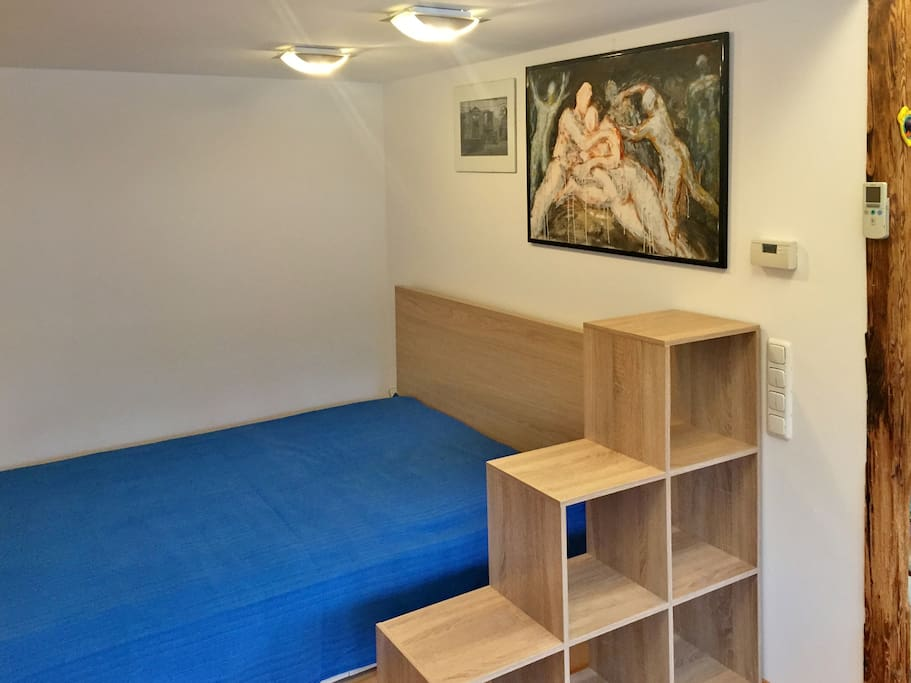 downstairs: double bed in the living area