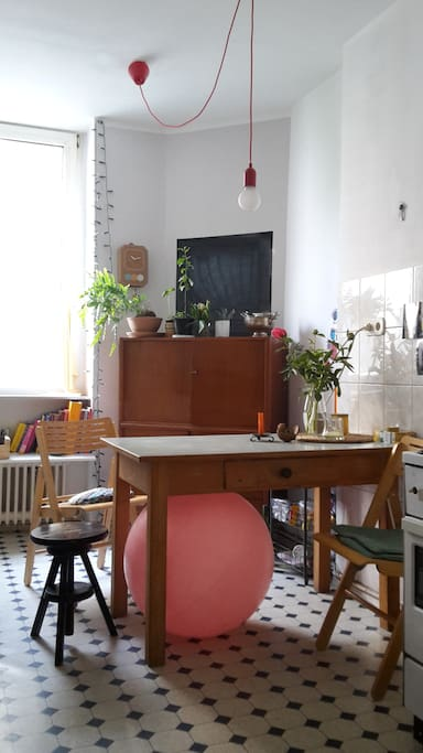 ... our kitchen... our gymnastic ball :) ...