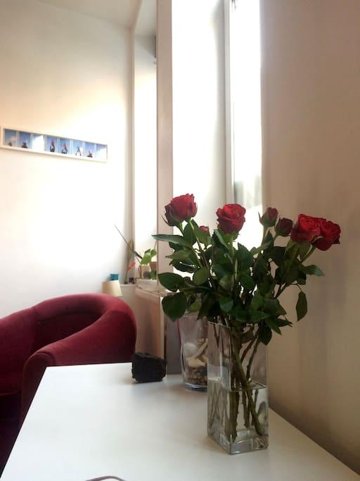 Des fleurs à l'arrivée  :-)