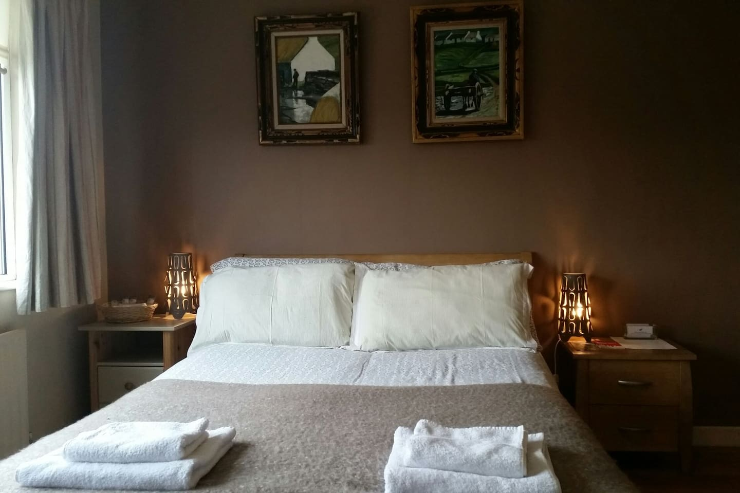 Warm comfortable bedroom , with memory foam mattress.