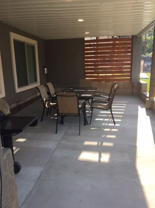 outdoor grill and eating area
