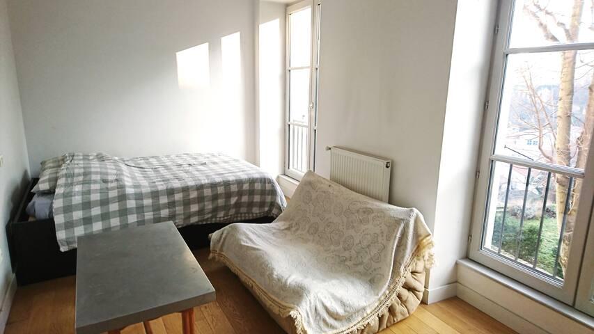 Chambre avec salle de bain proximité quai de Saône