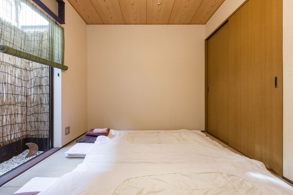 This Japanese tatami bed room is on the ground floor.