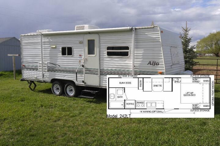 Camp Trailer in Rexburg Country Backyard