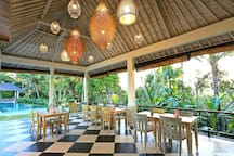 We have small restaurant. You can enjoy breakfast, lunch, dinner.