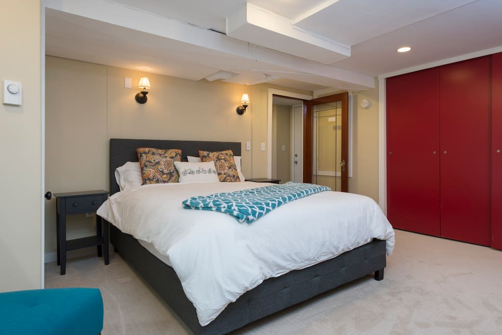 The door into your bedroom and a spacious closet for your clothes. Our guests rave about how comfortable the mattress is.