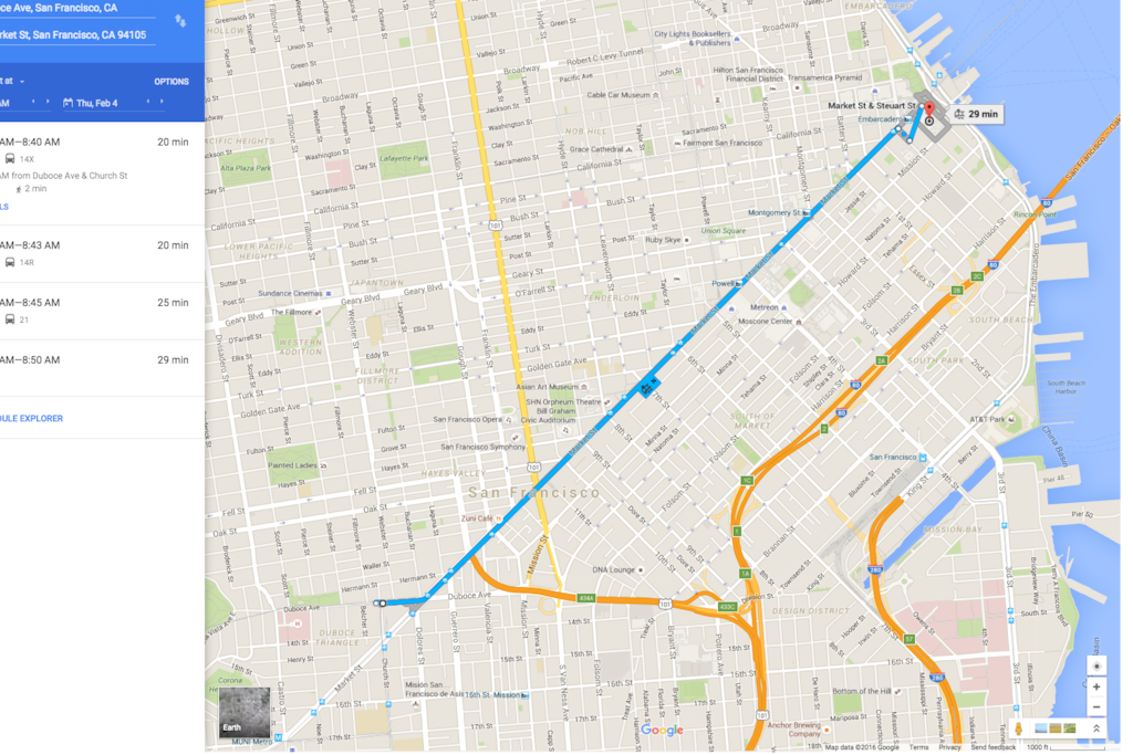 Public transport is a straight shot to Super Bowl City! 15 - 20 mins max.