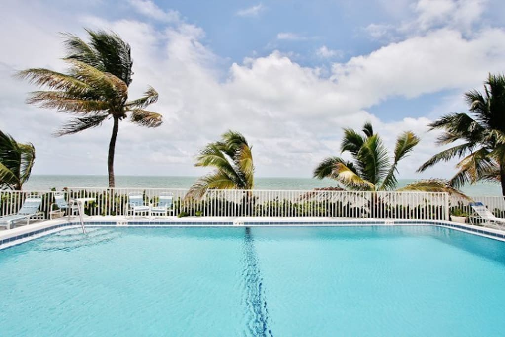 Relax in the Resort Pool Located Beachfront with Ocean Views  Florida Keys Vacation Rental