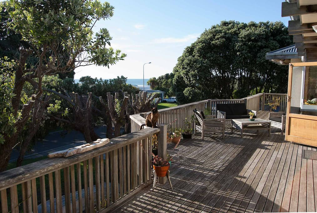 Large front deck with sea views to the south