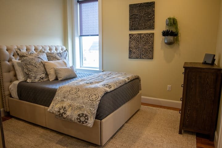 Queen-sized bed and dresser