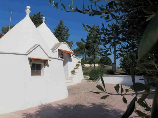 Beautiful trullo in green valley